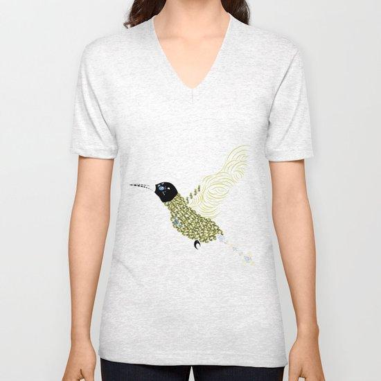 Abstract Hummingbird Unisex V-Neck