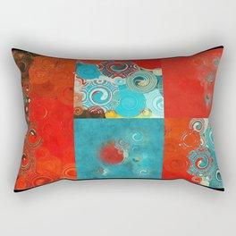 Swirly Red and Turquoise Mosaic Rectangular Pillow
