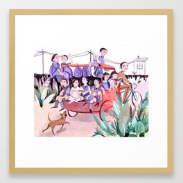 Rickshaw School Run Framed Art Print