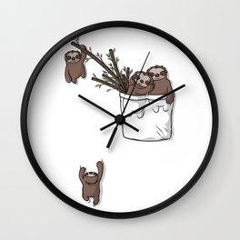 Pocket Sloth Family Wall Clock