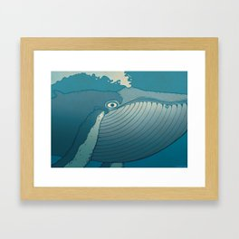 A whale ate her by mistake and spat her up in the sky Framed Art Print