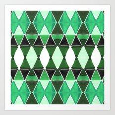 Art Deco Triangles Green Art Print