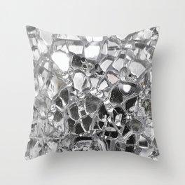 Silver Mirrored Mosaic Throw Pillow