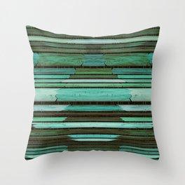 Green Slats Throw Pillow