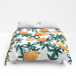 Orange Twist Flower Vibes #2 #tropical #fruit #decor #art #society6 Comforters