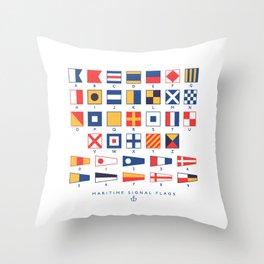 Maritime Nautical Signal Flags Chart - White Throw Pillow