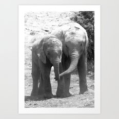 Elephant friends Art Print