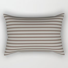 BM Mustang Brown & Color of the Year 2019 Metropolitan Light Gray Double Bold Horizontal Stripes Rectangular Pillow