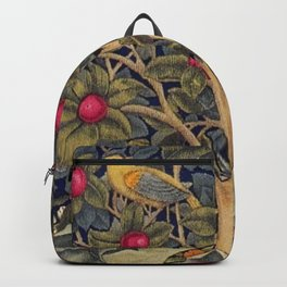 William Morris Woodpecker, Fruit Tree & Poppy Flower Garden Tapestry Textile Floral Print Backpack