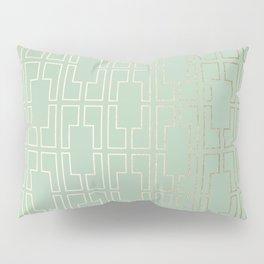 Simply Mid-Century in White Gold Sands and Pastel Cactus Green Pillow Sham