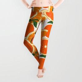 Orange Harvest - White Leggings