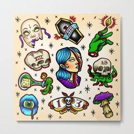 Friday the 13th tattoo flash  Metal Print