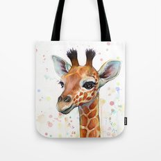 Giraffe Baby Animal Watercolor Whimsical Nursery Animals Tote Bag