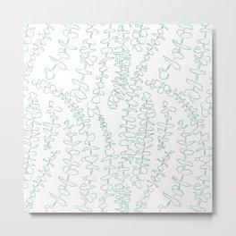 Round Eucalyptus Leaf Toss in White + Sage Metal Print