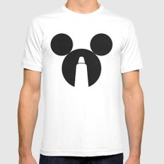 The Dark Side of the Mouse White Mens Fitted Tee MEDIUM