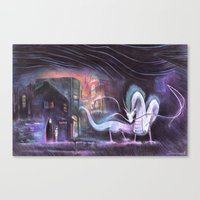 spirited away Canvas Prints featuring Spirited Away by snowmarite
