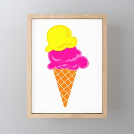 Vanilla and Raspberry Ice Cream Cone Framed Mini Art Print