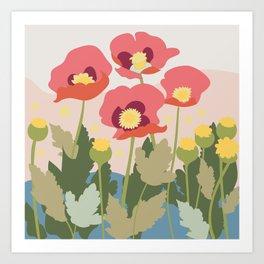 Poppies in the Fields, modern art design, wall art, poster Art Print