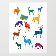 Les biches - Colourful Does pattern illustration Art Print