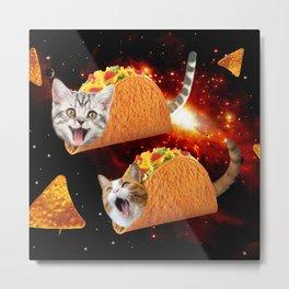 Taco Cats Space Metal Print