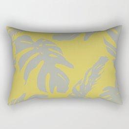 Palm Leaves Retro Gray on Mod Yellow Rectangular Pillow