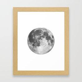 Full Moon phase print black-white monochrome new lunar eclipse poster home bedroom wall decor Framed Art Print