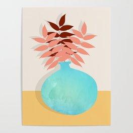 Mid Century Modern Art Home Decor Wall Art Still Life Leaves in Vase Minimalism Poster