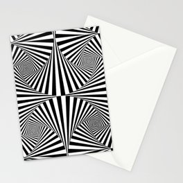 Black And White Retro Optical Illusion Stationery Cards
