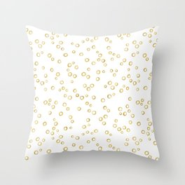 Gold Hand Painted Circles Throw Pillow