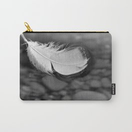 White Feather Floating on Water Carry-All Pouch