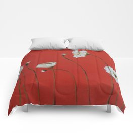 Asian White Poppies Comforters