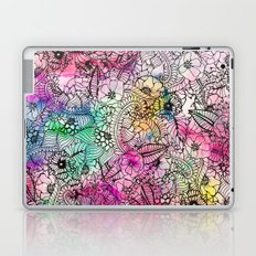 Modern colorful hand drawn flowers watercolor wash Laptop & iPad Skin