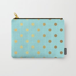 Gold polka dots on aqua background - Luxury turquoise pattern Carry-All Pouch