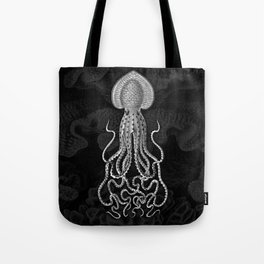 Squid1 (Black & White, Square) Tote Bag