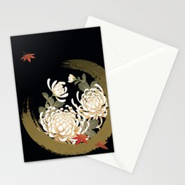 White Peonies Red Maple Leaves Japanese Kimono Pattern Stationery Cards