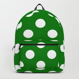 Ao (English) - green - White Polka Dots - Pois Pattern Backpack