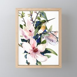 Hummingbird and Magnolia Flowers Framed Mini Art Print