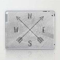 Map Compass - Forest Trees North East West South Compass Black and White Adventure Laptop & iPad Skin