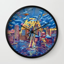 abstract city skyline-baltimore Wall Clock