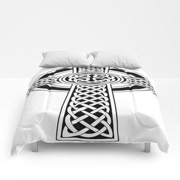 St Patrick's Day Celtic Cross Black and White Comforters