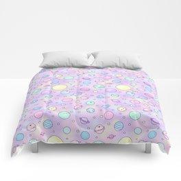 Pastel Planets Doodle Comforters
