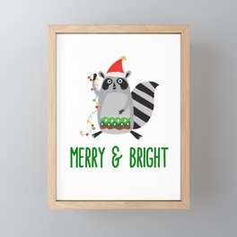 Merry & Bright Racoon with Christmas Lights Framed Mini Art Print