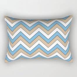 Blue Brown and White Chevrons Rectangular Pillow