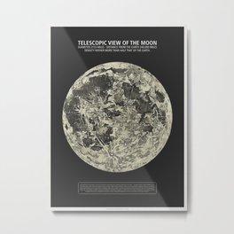 Telescopic View of the Moon | Vintage Astronomy Illustration Metal Print