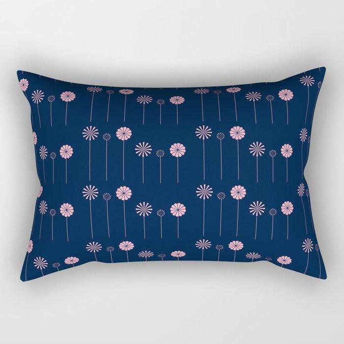 Pink Flowers at Night Pattern Rectangular Pillow