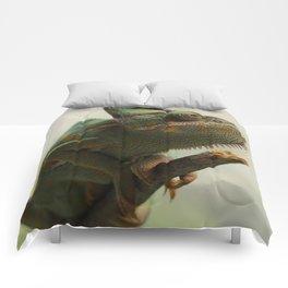 Green Chameleon on Branch Comforters