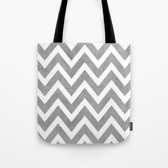 gray chevron Tote Bag