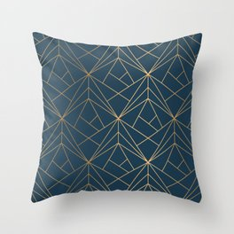 Benjamin Moore Hidden Sapphire Gold Geometric Pattern With White Shimmer Throw Pillow