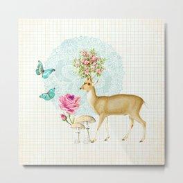 Deer rose Metal Print
