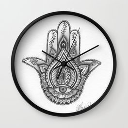 Hamsa hand Illustration (Evil Eye) protection/good luck - By Ashley Rose Standish Wall Clock